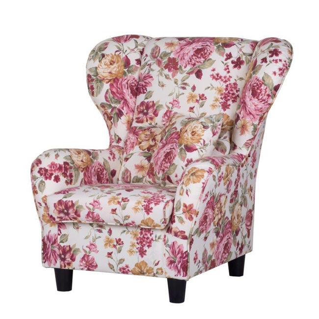 Fotel tapicerowany z wysokim oparciem