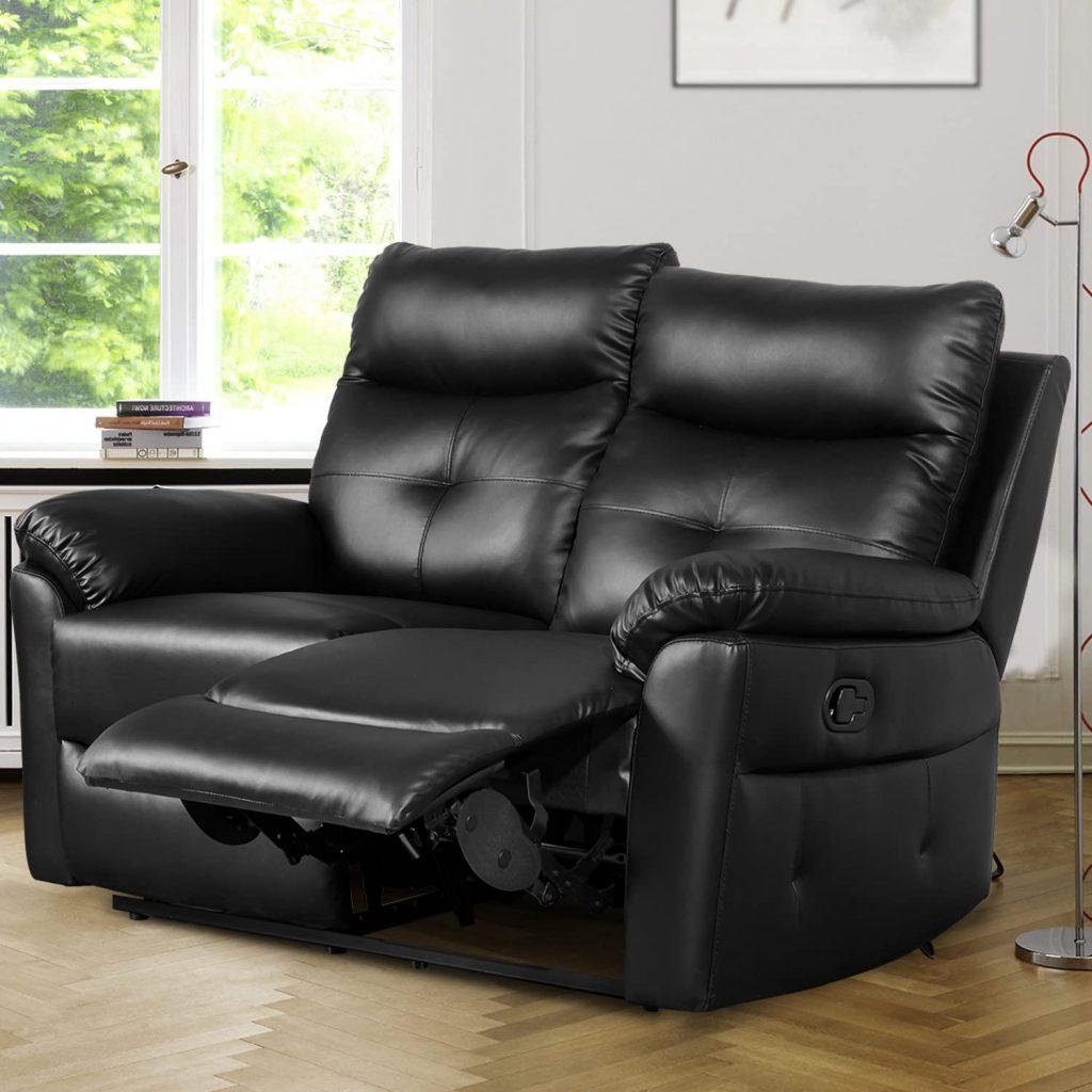 Strefa wypoczynkowa czarna skóra PU 2-osobowa sofa leżanka